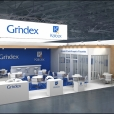 "Exhibition stand of ""Grindex"", exhibition CPhI WORLDWIDE 2018 in Madrid"