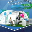 "Exhibition stand of ""Biocad"", exhibition CPhI WORLDWIDE 2018 in Madrid"